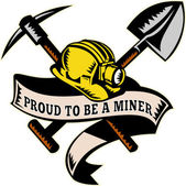 Coal miner hat shovel spade pickax mining — Stock Photo