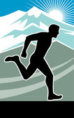 Marathon runner silhouette — Stock Photo
