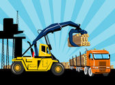 Forklift hoist crane load timber logging truck — Stock Photo