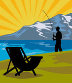 Fly fisherman fishing lake mountains chair — Stock Photo