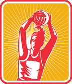 Netball player catching or passing ball — Stock Photo