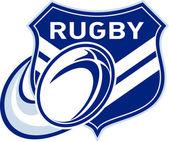 Pelota de rugby volando con escudo — Foto de Stock