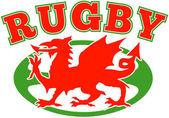 ラグビー ボール ウェールズの赤いドラゴン ウェールズ語します。 — ストック写真