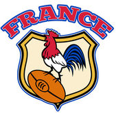 France Rugby Rooster cockerel ball and shield — Stock Photo