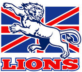 Lion attacking GB British union jack flag — Stockfoto