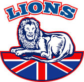 Lion sitting GB British union jack flag — Stock Photo