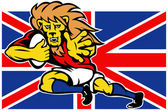 Cartoon British Lion rugby fending off GB flag — Stock Photo