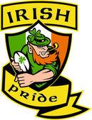 Irish leprechaun rugby player shield Ireland — Stock Photo