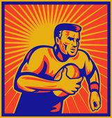 Jogador de rugby, correr com bola — Fotografia Stock