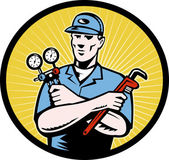 Repairman serviceman holding ac manifold gauge wrench — Stock Photo