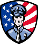 Policeman Police Officer American flag shield — Stock Photo