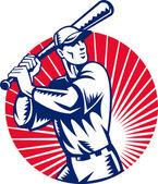 Baseball player with bat batting — Stock Photo