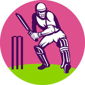 Cricket batsman batting wicket — Stock Photo