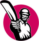 Cricket player batsman pointing bat — Stock Photo