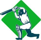 Cricket sports player batsman batting — Stock Photo