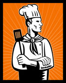 Retro chef cook holding spatula looking up — Stock Photo