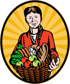 Female organic farmer crop harvest basket — Foto Stock