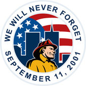 9-11 fireman firefighter american flag twin tower — Stock Photo