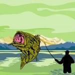 Largemouth Bass Fish Fly Fisherman Fishing rod — Stock Photo