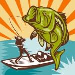 Largemouth Bass Fish Fly Fisherman Fishing rod — Stock Photo #6646969