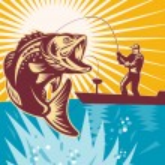 Largemouth Bass Fish Fly Fisherman Fishing rod — Stock Photo #6646977