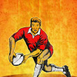 Постер, плакат: Rugby player passing the ball