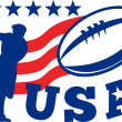 Постер, плакат: American USA Rugby Player passing Ball