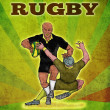 Постер, плакат: Rugby player running the ball