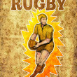 Постер, плакат: Rugby player running passing ball