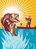 Largemouth bass peixes voam a vara de pesca do pescador — Foto Stock