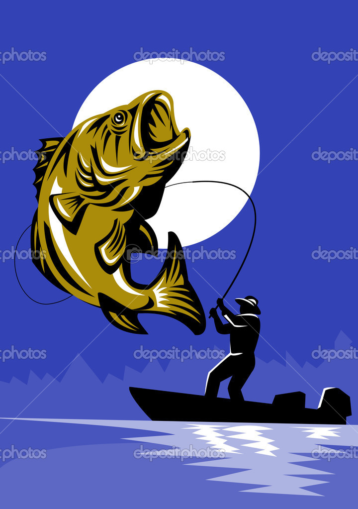 Illustration of a Largemouth Bass Fish jumping being reeled by Fly Fisherman on bass boat with Fishing rod done in retro style — Stock Photo #6646962