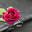 Rose and katana — Stock Photo