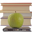 Stock Photo: Apple and eBook