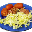 Salad, tomato and meat — Stockfoto