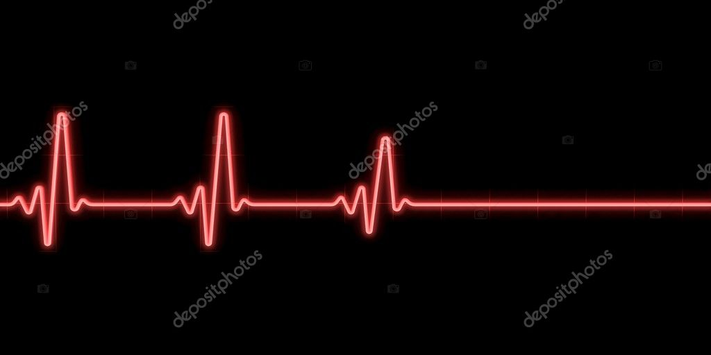 Heartbeat on black background — Stock Photo #5446827