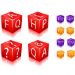 FAQ and help cube icon — Stock Vector