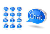 Chat, forum, blog, rss, help bubbles — Stock Vector