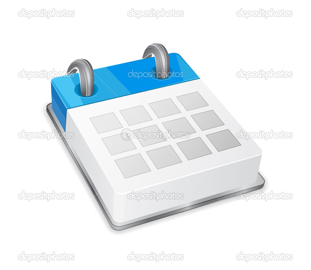 Blue 3d calendar icon isolated on white — ベクター素材ストック #5632863