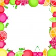 Colorful vector fruits frame — Stock Vector