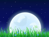 Huge moon with grass meadow. — Stock Vector