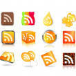 Stock Vector: Different style of rss icon set
