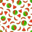 Stock Vector: Whole and sliced watermelon seamless pattern