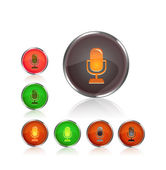 Round icon set with microphone sillhouette — Stock Vector