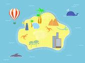 Mappa di isola di stile retrò — Vettoriale Stock
