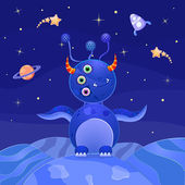 Blue Alien Standing on Planet in Open Space — Stock Vector