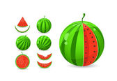 Whole and sliced watermelon set — Stock Vector