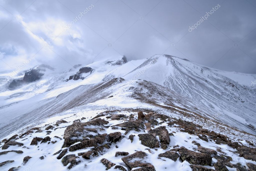 Mountain rocky landscape with stones and snow. Valley in Caucasus mountains. Kabardino-Balkaria. Russia. — Stock Photo #5500334