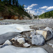 Landscape with stones and ice. Siberia, Russia, taiga. - Stock Photo