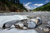 Landscape with stones and ice. Siberia, Russia, taiga. — Stock Photo