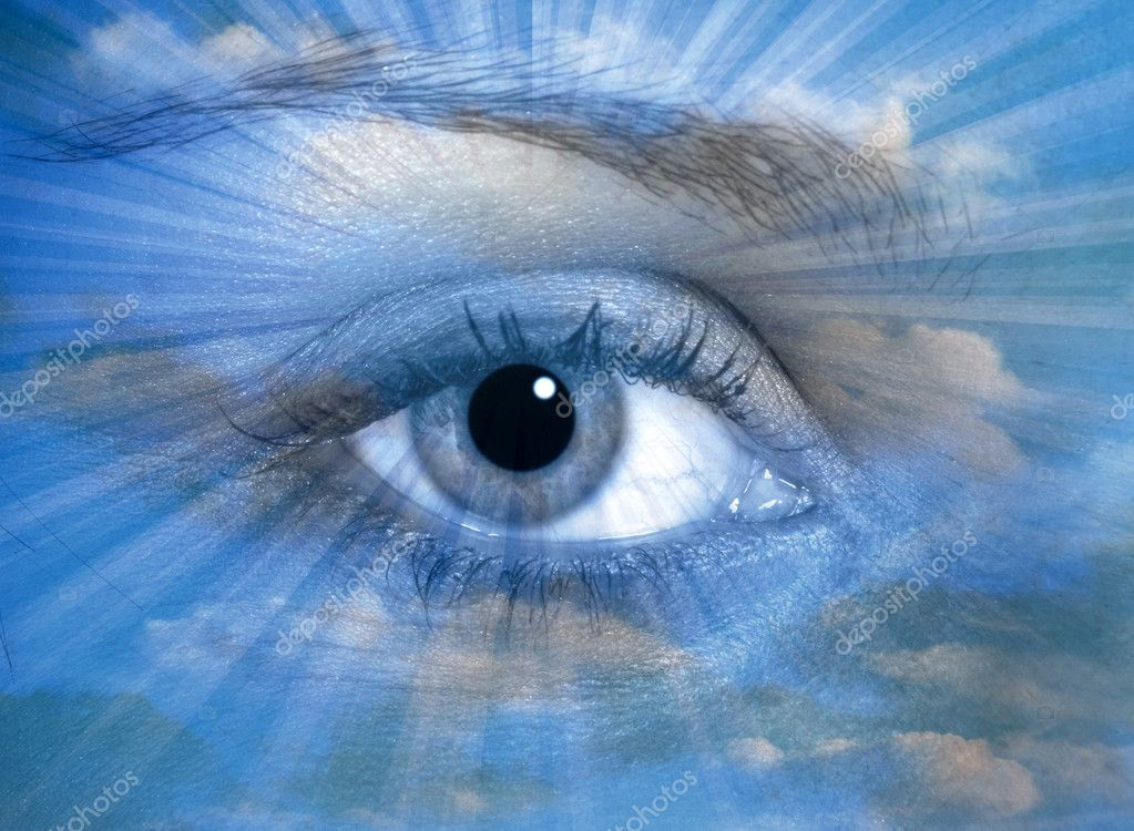 Female eye over cloudy sky with streak pattern — Stock Photo #5536994